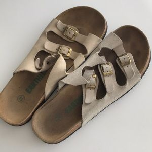EARTHIES •Cork Sole Slide Shoes with Three Buckles